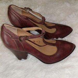 Frye Betty T-Strap Burgundy Leather Heels sz 9.5